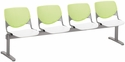 2300 KOOL Series Beam Seating with 4 Poly Lime Green Perforated Back Seats and White Seats [2300BEAM4-BP14-SP08-IFK]