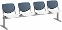 2300 KOOL Series Beam Seating with 4 Poly Navy Perforated Back Seats and White Seats [2300BEAM4-BP03-SP08-IFK]