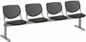 2300 KOOL Series Beam Seating with 4 Poly Perforated Back and Seats with Silver Frame - Black [2300BEAM4-P10-IFK]