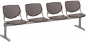 2300 KOOL Series Beam Seating with 4 Poly Perforated Back and Seats with Silver Frame - Brownstone [2300BEAM4-P18-IFK]