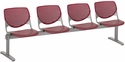 2300 KOOL Series Beam Seating with 4 Poly Perforated Back and Seats with Silver Frame - Burgundy [2300BEAM4-P07-IFK]