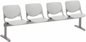 2300 KOOL Series Beam Seating with 4 Poly Perforated Back and Seats with Silver Frame - Light Grey [2300BEAM4-P13-IFK]