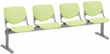 2300 KOOL Series Beam Seating with 4 Poly Perforated Back and Seats with Silver Frame - Lime Green [2300BEAM4-P14-IFK]