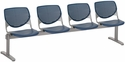 2300 KOOL Series Beam Seating with 4 Poly Perforated Back and Seats with Silver Frame - Navy [2300BEAM4-P03-IFK]