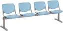 2300 KOOL Series Beam Seating with 4 Poly Perforated Back and Seats with Silver Frame - Sky Blue [2300BEAM4-P35-IFK]