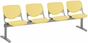 2300 KOOL Series Beam Seating with 4 Poly Perforated Back and Seats with Silver Frame - Yellow [2300BEAM4-P12-IFK]