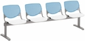 2300 KOOL Series Beam Seating with 4 Poly Sky Blue Perforated Back Seats and White Seats [2300BEAM4-BP35-SP08-IFK]