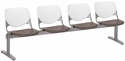 2300 KOOL Series Beam Seating with 4 Poly White Perforated Back and Brownstone Seats [2300BEAM4-BP08-SP18-IFK]