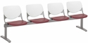 2300 KOOL Series Beam Seating with 4 Poly White Perforated Back and Burgundy Seats [2300BEAM4-BP08-SP07-IFK]