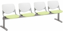 2300 KOOL Series Beam Seating with 4 Poly White Perforated Back and Lime Green Seats [2300BEAM4-BP08-SP14-IFK]