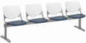 2300 KOOL Series Beam Seating with 4 Poly White Perforated Back and Navy Seats [2300BEAM4-BP08-SP03-IFK]