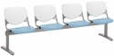 2300 KOOL Series Beam Seating with 4 Poly White Perforated Back and Sky Blue Seats [2300BEAM4-BP08-SP35-IFK]