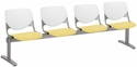 2300 KOOL Series Beam Seating with 4 Poly White Perforated Back and Yellow Seats [2300BEAM4-BP08-SP12-IFK]