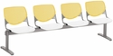 2300 KOOL Series Beam Seating with 4 Poly Yellow Perforated Back Seats and White Seats [2300BEAM4-BP12-SP08-IFK]