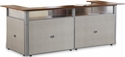 96'' W x 37'' D U-Shaped Reception Station with Gray Frame and Cherry Finish - Beige Vinyl [PG296-2-MFO]