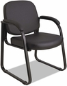 Alera® Genaro Series Upholstered Guest Arm Chair with Sled Base - Black Vinyl [ALERL43C16-FS-NAT]