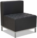 Alera® QUB Series Armless L Sectional with Tufted Seat and Silver Steel Legs - Black [ALEQB8116-FS-NAT]