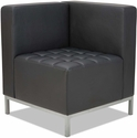 Alera® QUB Series Corner Sectional with Tufted Seat and Silver Steel Legs - Black [ALEQB8016-FS-NAT]