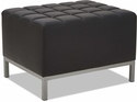 Alera® QUB Series Ottoman with Tufted Seat and Silver Steel Legs - Black [ALEQB8216-FS-NAT]