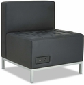 Alera® QUB Series Powered Armless L Sectional with Tufted Seat and Silver Steel Legs - Black [ALEQB8116P-FS-NAT]