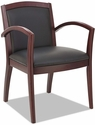 Alera® Reception Lounge 500 Series Arch Back Solid Mahogany Wood Frame Arm Chair - Black Leather [ALERL5219M-FS-NAT]