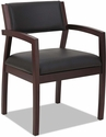 Alera® Reception Lounge 500 Series Half Back Mahogany Wood Frame Arm Chair - Black Leather [ALERL5319M-FS-NAT]