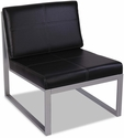 Alera® Ispara Series Armless Cube Chair with Heavy Duty Silver Steel Frame - Black Leather [ALERL8319CS-FS-NAT]