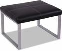 Alera® Ispara Series Cube Ottoman with Heavy Duty Silver Steel Frame - Black Leather [ALERL8319CSM-FS-NAT]