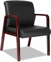 Alera® Reception Lounge Series Soft Leather Guest Chair with Cherry Wood Frame and Arms - Black [ALERL4319C-FS-NAT]