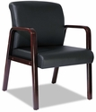 Alera® Reception Lounge Series Guest Chair - Mahogany/Black Leather [ALERL4319M-FS-NAT]
