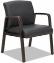 Alera® Reception Lounge Series Soft Leather Guest Chair with Espresso Wood Frame and Arms - Black [ALERL4319E-FS-NAT]