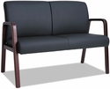 Alera® Reception Lounge Series Soft Leather Loveseat with Mahogany Wood Frame and Arms - Black [ALERL2219M-FS-NAT]