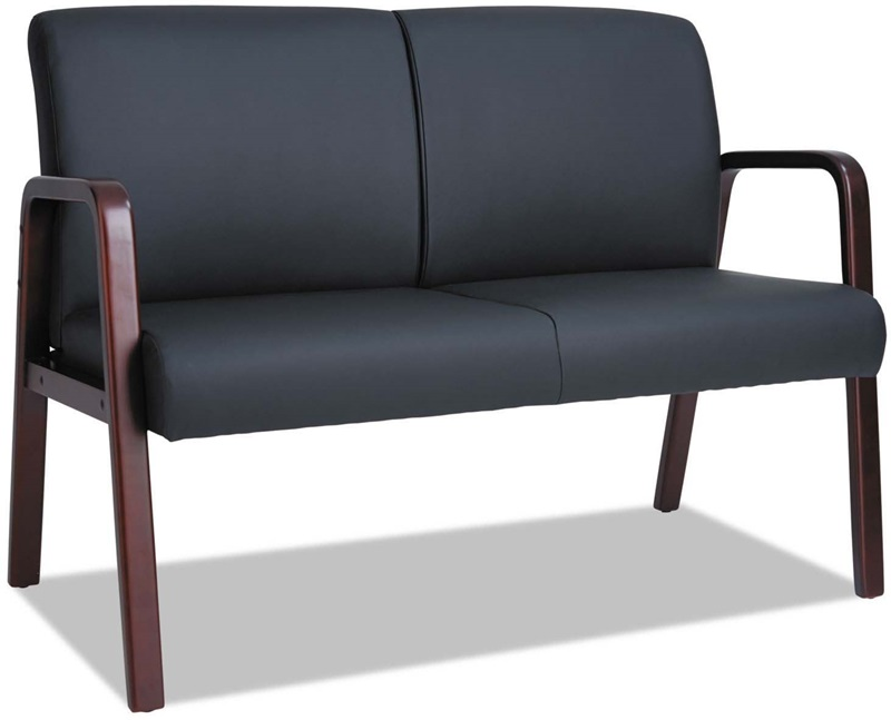alera reception lounge series soft leather loveseat with mahogany wood frame and arms black alerl2219m fs nat - Wood Frame Loveseat