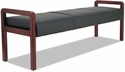 Alera® Reception Lounge WL Series Soft Leather Backless Bench with Mahogany Wood Frame - Black [ALERL2419M-FS-NAT]