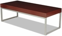 Alera® Rectangular Occasional Coffee Table with Silver Steel Frame and Laminate Top - 47.25''W x 20''D x 16''H - Mahogany [ALECT7648M-FS-NAT]