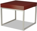 Alera® Rectangular Occasional Corner Table with Silver Steel Frame and Laminate Top - 23.63''W x 23.63''D x 20''H - Mahogany [ALECT7624M-FS-NAT]