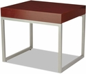 Alera® Rectangular Occasional End Table with Sliver Steel Frame and Laminate Top - 23.63''W x 20''D x 20''H - Mahogany [ALECT7620M-FS-NAT]