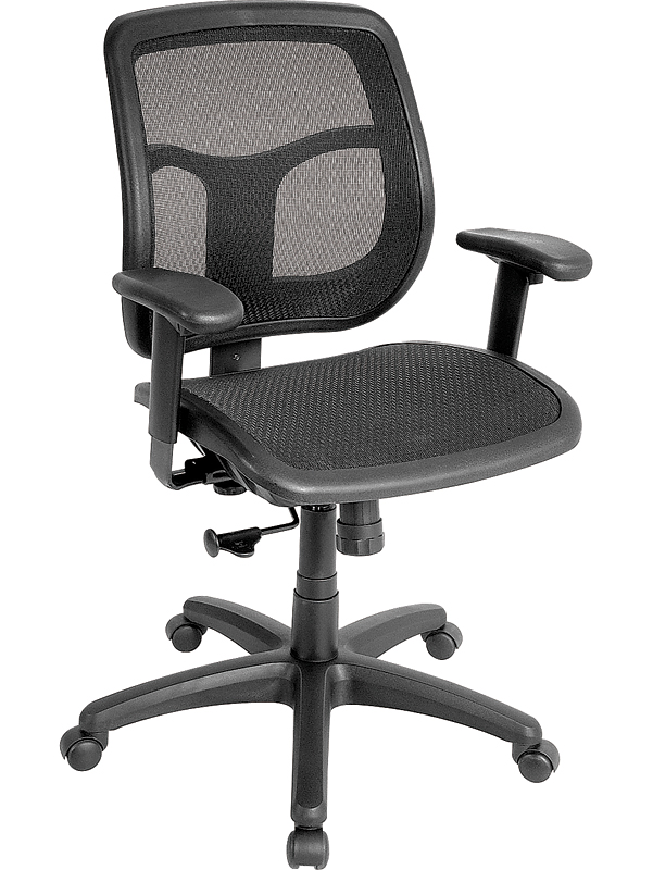 Apollo 26 W X 20 D 36 H Adjule Height Mid Back Mesh Seat And Task Chair Black Mmt9300 Fs Euro