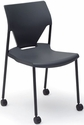 Arriva Four Leg Stacking Chair with Casters - Black Shell with Black Frame [AV-4-PLBL-CA-FS-ADI]