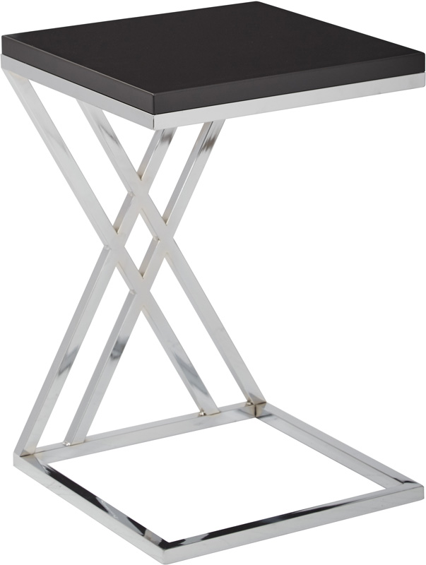 Ave Six Wall Street Multi Purpose Side Table With Chrome Frame   Black  [WST16 BK FS OS]