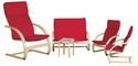 Bentwood 5 Piece Comfort Furniture Set with Removable Cushions - Adult and Child [ELR-SPC-15405-ECR]