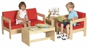 Birch Hardwood 4 Piece Comfort Living Room Set with 2'' Thick Foam Cushions [ELR-0680-ECR]
