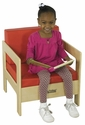 Birch Hardwood Preschool Living Room Set Chair with 2'' Thick Red Vinyl Covered Foam Cushions [ELR-0682-ECR]