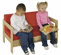 Birch Hardwood Preschool Living Room Set Sofa with 2'' Thick Red Vinyl Covered Foam Cushions [ELR-0681-ECR]