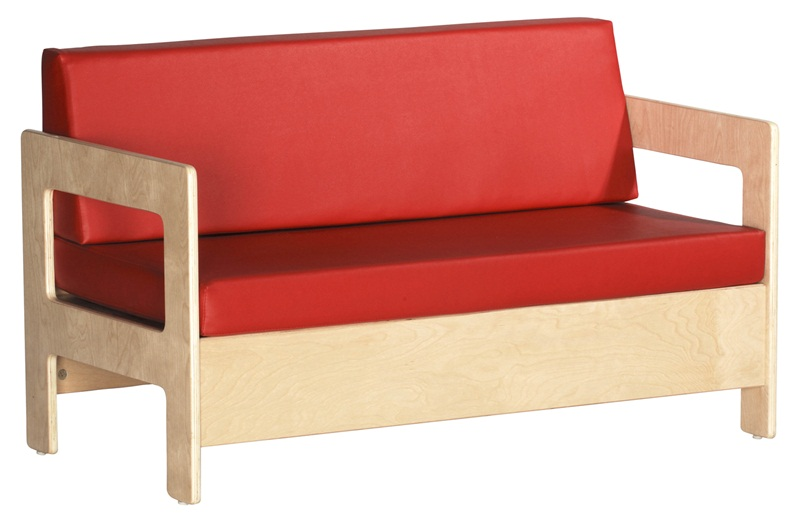 Birch Hardwood Preschool Living Room Set Sofa With 2u0027u0027 Thick Red Vinyl  Covered Foam Cushions [ELR 0681 ECR]