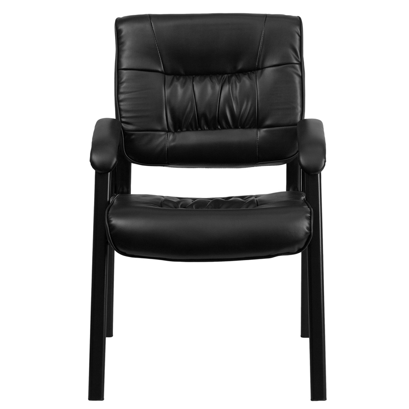 Black Leather Executive Side Reception Chair With Black Frame Finish  [BT 1404 GG]