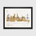 Bridge and Skyline Gold by Avery Tillmon Artwork on Fine Art Paper with Black Matte Hardwood Frame - 24''W x 16''H x 1''D [WAC3807-1PFA-24X16-FM01-ICAN]