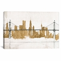 Bridge and Skyline Gold by Avery Tillmon Gallery Wrapped Canvas Artwork with Floating Frame - 27''W x 19''H x 1.5''D [WAC3807-1PC6-26X18-FF01-ICAN]