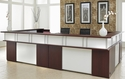 Causeway Double Reception L Desk - Mahogany Finish [7042-REC144A-FS-DMI]