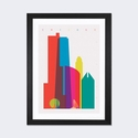 Chicago by Yoni Alter Artwork on Fine Art Paper with Black Matte Hardwood Frame - 24''W x 32''H x 1''D [YAL16-1PFA-32X24-FM01-ICAN]